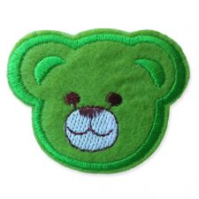 GREEN BEAR HEAD MOTIF IRON ON EMBROIDERED PATCH APPLIQUE